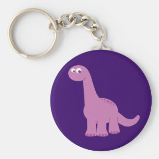 Purple Brontosaurus Dinosaur Basic Round Button Keychain