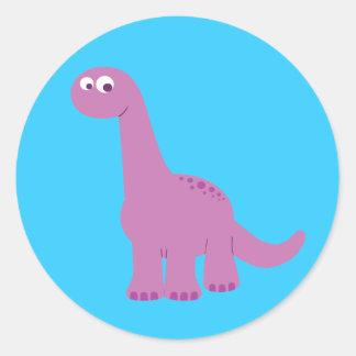 Purple Brontosaurus Dinosaur Classic Round Sticker