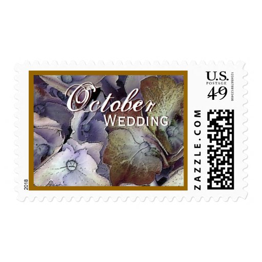 Purple & Bronze OCTOBER WEDDING Hydrangea Stamp
