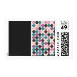 Purple, Brown, Blue Dot Background Wedding  Stamps