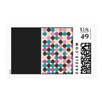 Purple, Brown, Blue Dot Background Wedding  Stamps