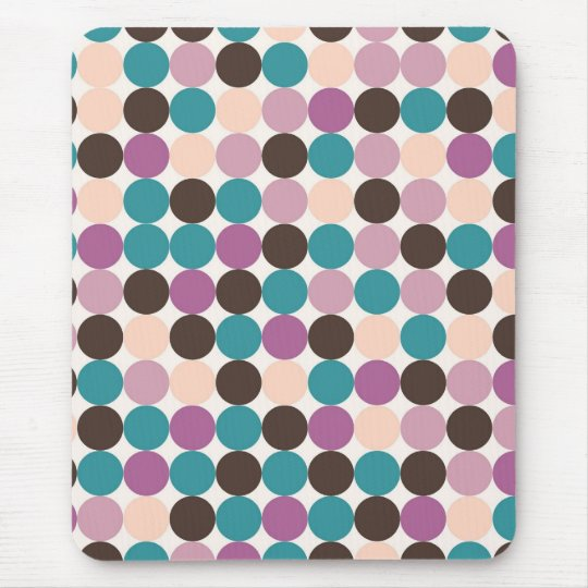 Purple, Brown, Blue Dots Background Mouse Pad