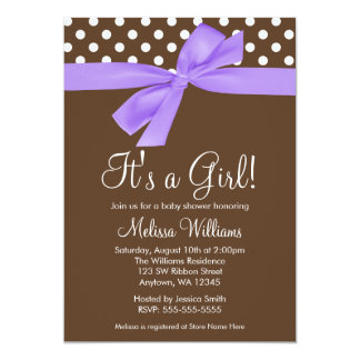 Purple Brown Bow Polka Dot Baby Shower Invitations