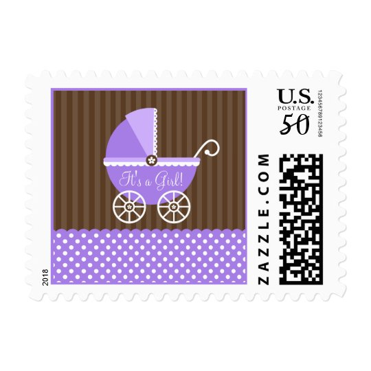Purple Brown Carriage Dots It's a Girl Baby Shower Postage
