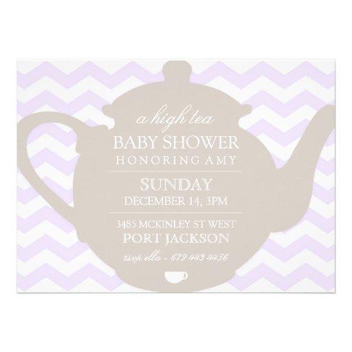 purple brown chevron high tea baby shower invite 5 5 x 7 5