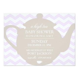"""Purple & Brown Chevron High Tea Baby Shower Invite 5.5"""" X 7.5"""" Invitation Card"""