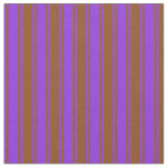 [ Thumbnail: Purple & Brown Colored Lines Pattern Fabric ]