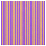 [ Thumbnail: Purple & Brown Colored Stripes/Lines Pattern Fabric ]