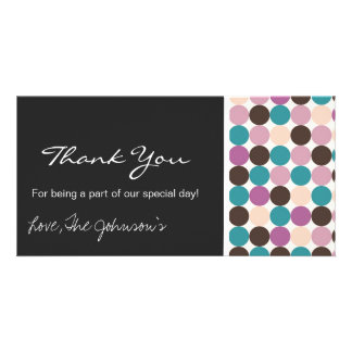 Purple, Brown Dots Wedding Thank You Photo Cards
