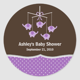 Purple & Brown Elephant Mobile Baby Shower Classic Round Sticker