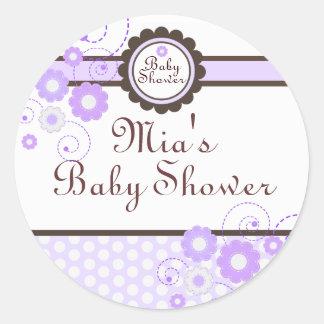 Purple & Brown Floral Design Baby Shower Sticker