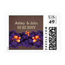 purple brown flourish ,wedding stamps