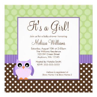 Purple Brown Green Owl Polka Dot Girl Baby Shower Announcement