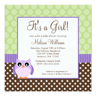 Purple Brown Green Owl Polka Dot Girl Baby Shower 5.25x5.25 Square Paper Invitation Card