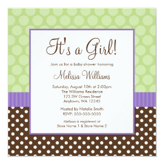 Purple Brown Green Polka Dot Girl Baby Shower Card