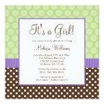 Purple Brown Green Polka Dot Girl Baby Shower Invitation