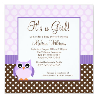 Purple Brown Owl Polka Dot Girl Baby Shower 5.25x5.25 Square Paper Invitation Card