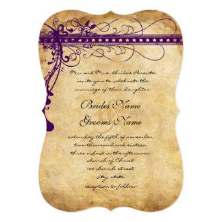 Purple Brown Paper Funky Elegant Swirls Card
