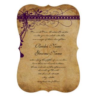 Purple Brown Paper Funky Elegant Swirls Custom Invite