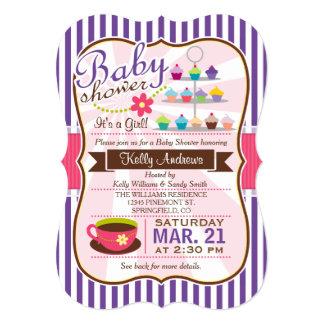 Purple, Brown & Pink Tea, Cupcake Baby Shower 5x7 Paper Invitation Card