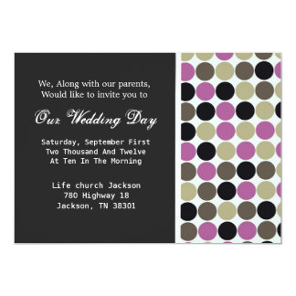 Purple & Brown Polka DotBackground Wedding Invites