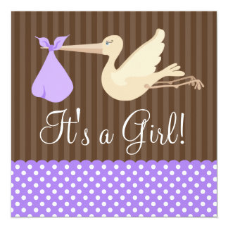 Purple Brown Stork Dots Girl Baby Shower Card