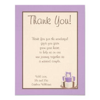 Purple/Brown Wedding Cake Flat Thank You Card
