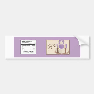 Purple/Brown Wedding Cake Water Bottle Label Bumper Sticker