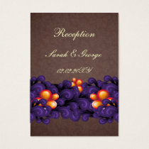 purple brown wedding Reception Cards