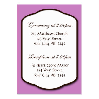 Purple Brown & White Wedding Guest Reference Cards