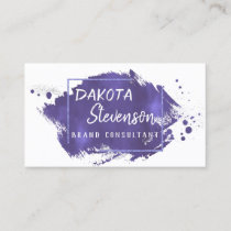 Purple Brush Stroke | Royal Violet Modern Splatter Business Card