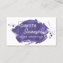 Purple Brush Stroke | Royal Violet Modern Splatter Business Card