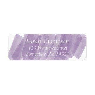 Purple Brushstroke Watercolor Paint Stripes Labels