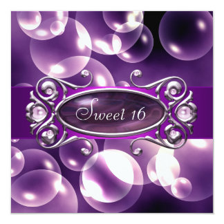 Purple Bubbles Purple Sweet 16 Party Card
