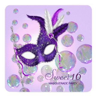 Purple Bubbles Purple Sweet Sixteen Masquerade Card