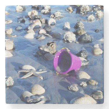 Beach Themed Purple Bucket Stone Coaster