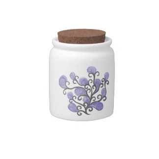 Purple Bud Flower Motif Candy Dishes