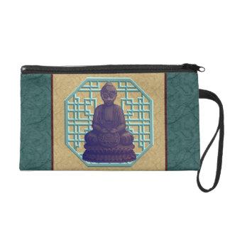 Purple Buddha Pixel Art Wristlet Clutch