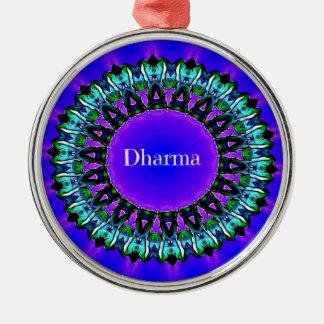 Purple Buddha Truths Darma Mandala Pattern Metal Ornament