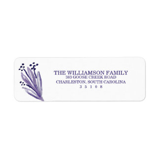 Purple Buds Watercolor Return Address Label