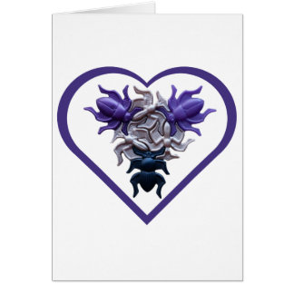Purple Bugs in Heart Card