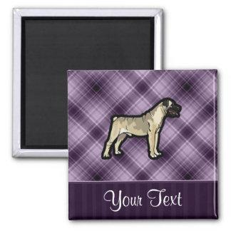 Purple Bullmastiff 2 Inch Square Magnet