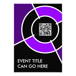 purple bullseye QR code 3.5x5 Paper Invitation Card