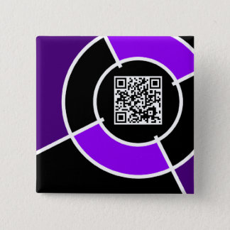purple bullseye QR code Pinback Button