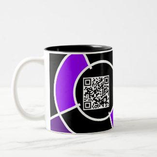 purple bullseye QR code Two-Tone Coffee Mug