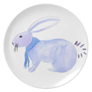 Purple Bunny In A Blue Scarf Plate