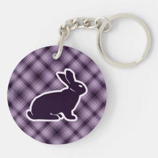 Purple Bunny Round Acrylic Key Chains