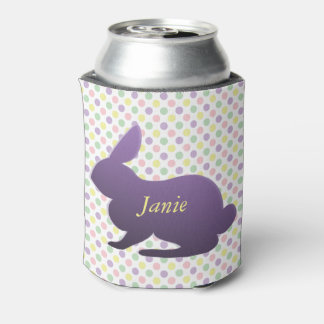 Purple Bunny on Pastel Dots Can Cooler