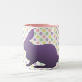 Purple Bunny on Pastel Dots Two-Tone Coffee Mug