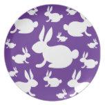 Purple Bunny Pattern Dinner Plate